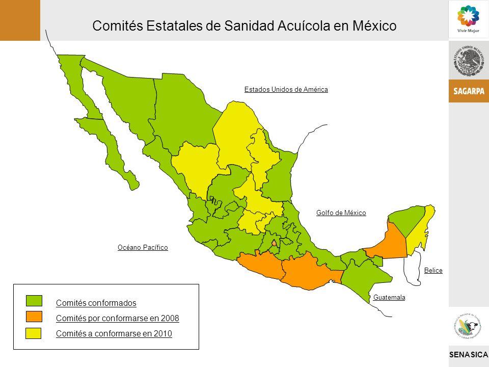 SENASICA Comités Estatales de Sanidad Acuícola en México Estados Unidos de América Golfo de México Belice Guatemala Océano Pacífico Comités conformado