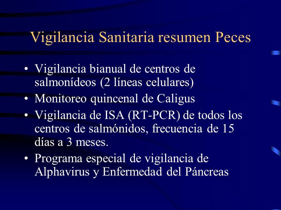 Vigilancia Sanitaria resumen Peces Vigilancia bianual de centros de salmonídeos (2 líneas celulares) Monitoreo quincenal de Caligus Vigilancia de ISA