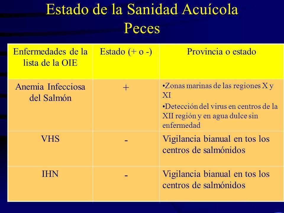Estado de la Sanidad Acuícola Peces Enfermedades de la lista de la OIE Estado (+ o -)Provincia o estado Anemia Infecciosa del Salmón + Zonas marinas d