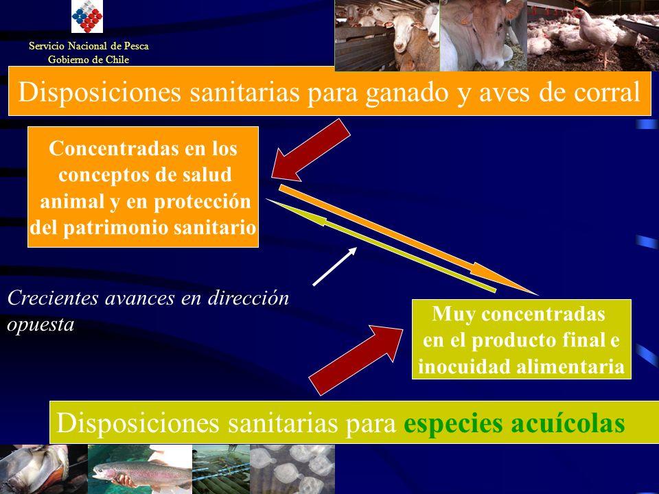 Disposiciones sanitarias para ganado y aves de corral Disposiciones sanitarias para especies acuícolas Muy concentradas en el producto final e inocuid