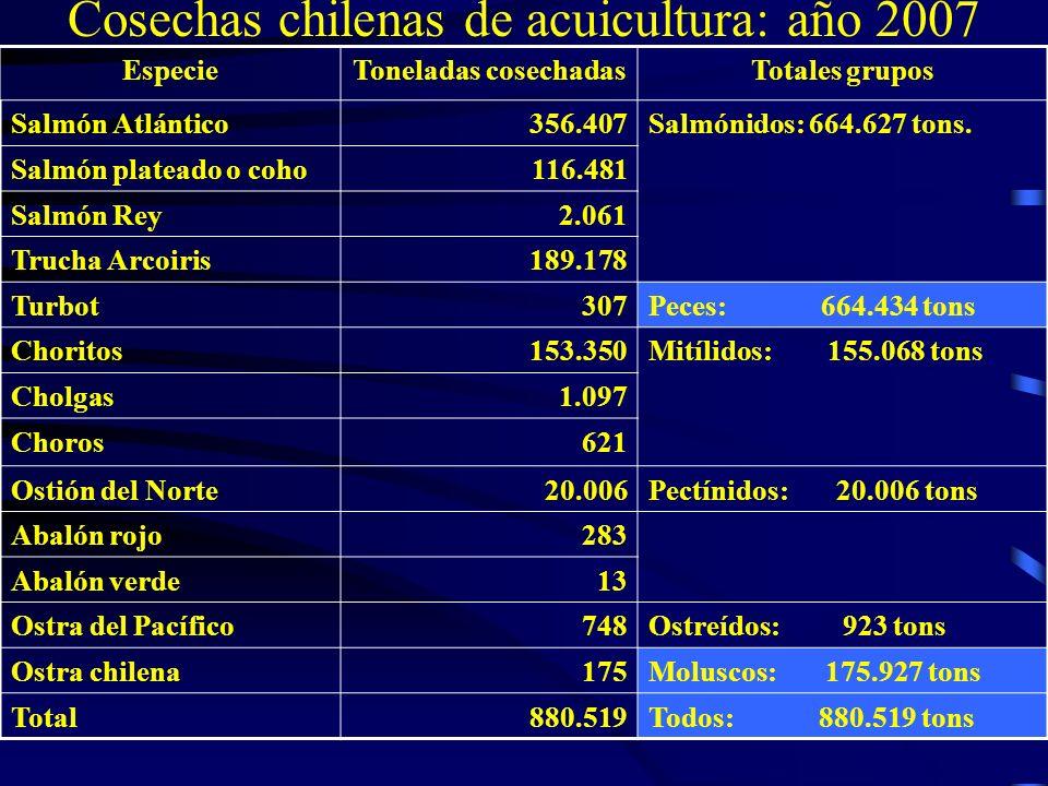 EspecieToneladas cosechadasTotales grupos Salmón Atlántico356.407Salmónidos: 664.627 tons. Salmón plateado o coho116.481 Salmón Rey2.061 Trucha Arcoir