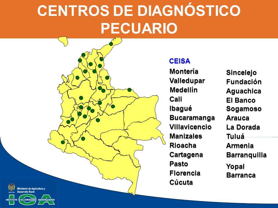 CENTROS DE DIAGNÓSTICO PECUARIO CEISA Montería Valledupar Cali Ibagué Bucaramanga Villavicencio Manizales Rioacha Cartagena Pasto Florencia Cúcuta Fun