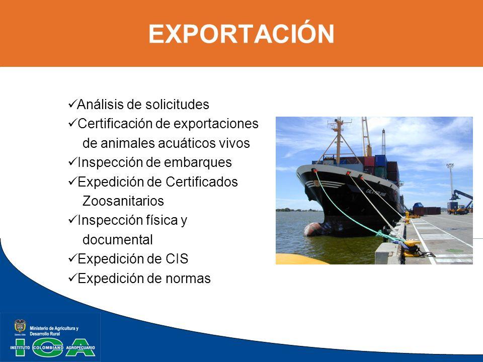 EXPORTACIÓN Análisis de solicitudes Certificación de exportaciones de animales acuáticos vivos Inspección de embarques Expedición de Certificados Zoos
