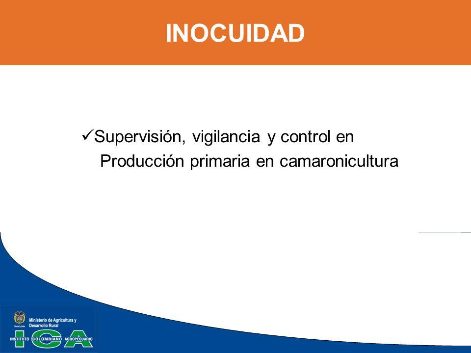 INOCUIDAD Supervisión, vigilancia y control en Producción primaria en camaronicultura
