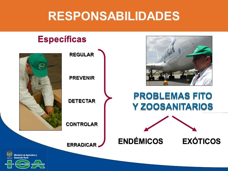 RESPONSABILIDADES REGULAR PROBLEMAS FITO Y ZOOSANITARIOS PROBLEMAS FITO Y ZOOSANITARIOS PREVENIR DETECTAR CONTROLAR EXÓTICOS ENDÉMICOS ERRADICAR Espec