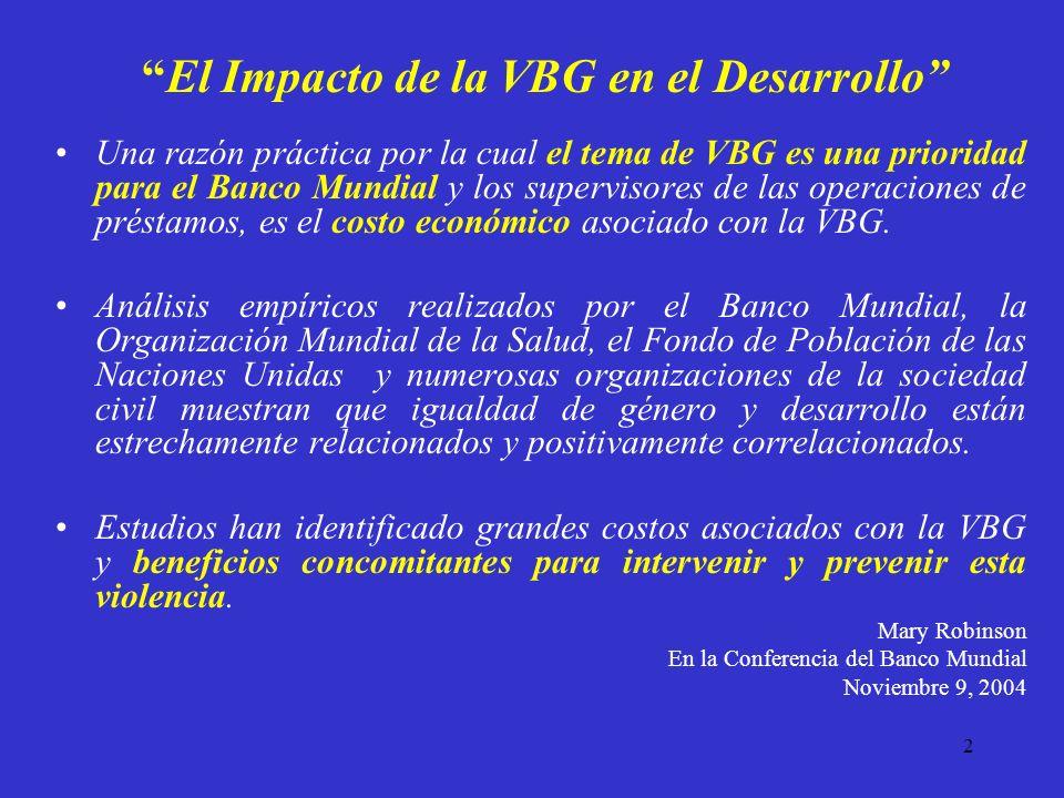 2 El Impacto de la VBG en el Desarrollo Una razón práctica por la cual el tema de VBG es una prioridad para el Banco Mundial y los supervisores de las operaciones de préstamos, es el costo económico asociado con la VBG.