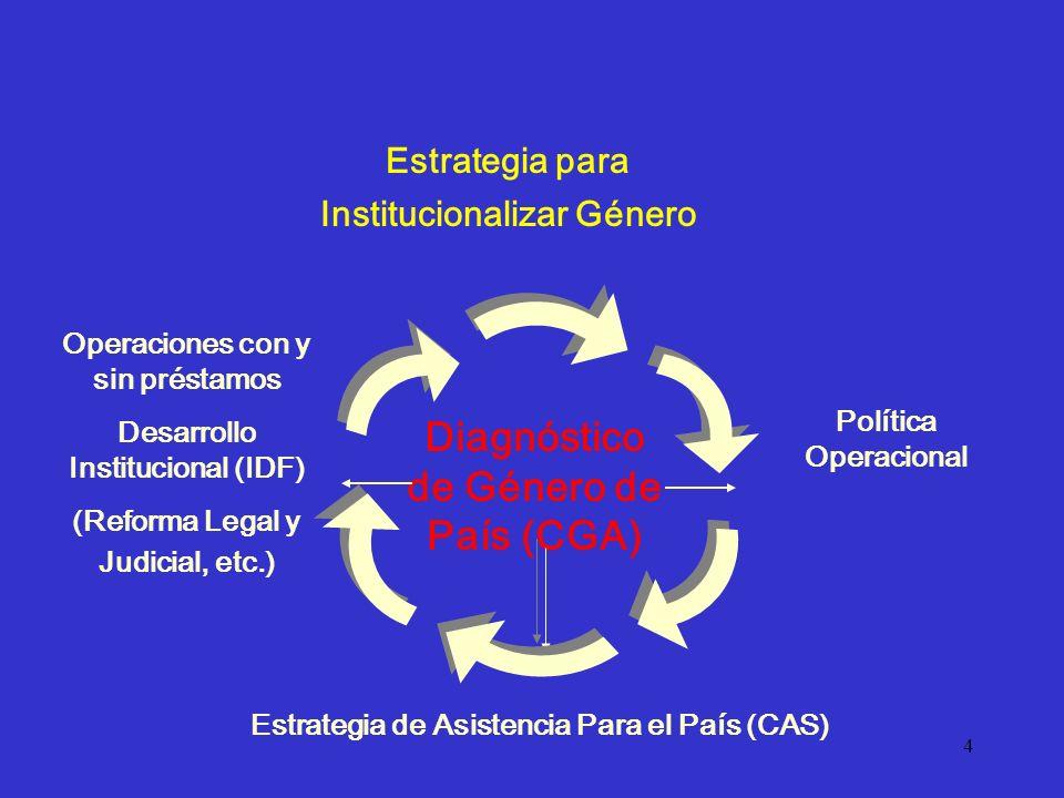 4 Operaciones con y sin préstamos Desarrollo Institucional (IDF) (Reforma Legal y Judicial, etc.) Estrategia de Asistencia Para el País (CAS) Política Operacional Diagnóstico de Género de País (CGA) Estrategia para Institucionalizar Género