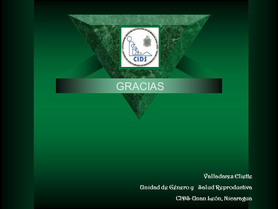 Valladares Eliette Unidad de Género y Salud Reproductiva CIDS-Unan León, Nicaragua GRACIAS