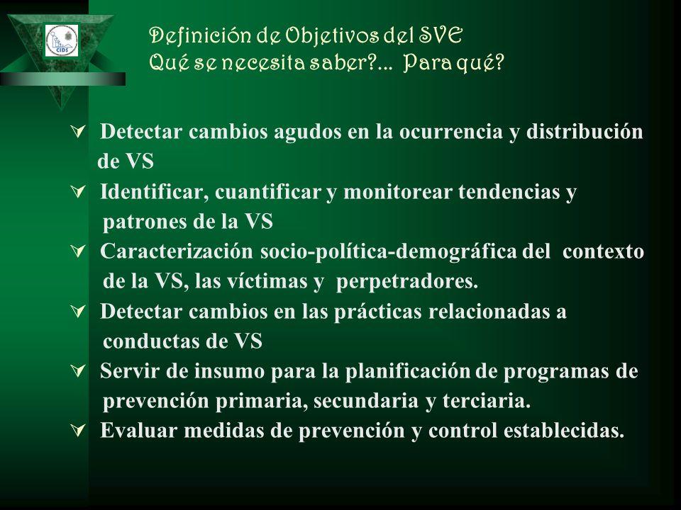 Definición de Objetivos del SVE Qué se necesita saber?... Para qué? Detectar cambios agudos en la ocurrencia y distribución de VS Identificar, cuantif