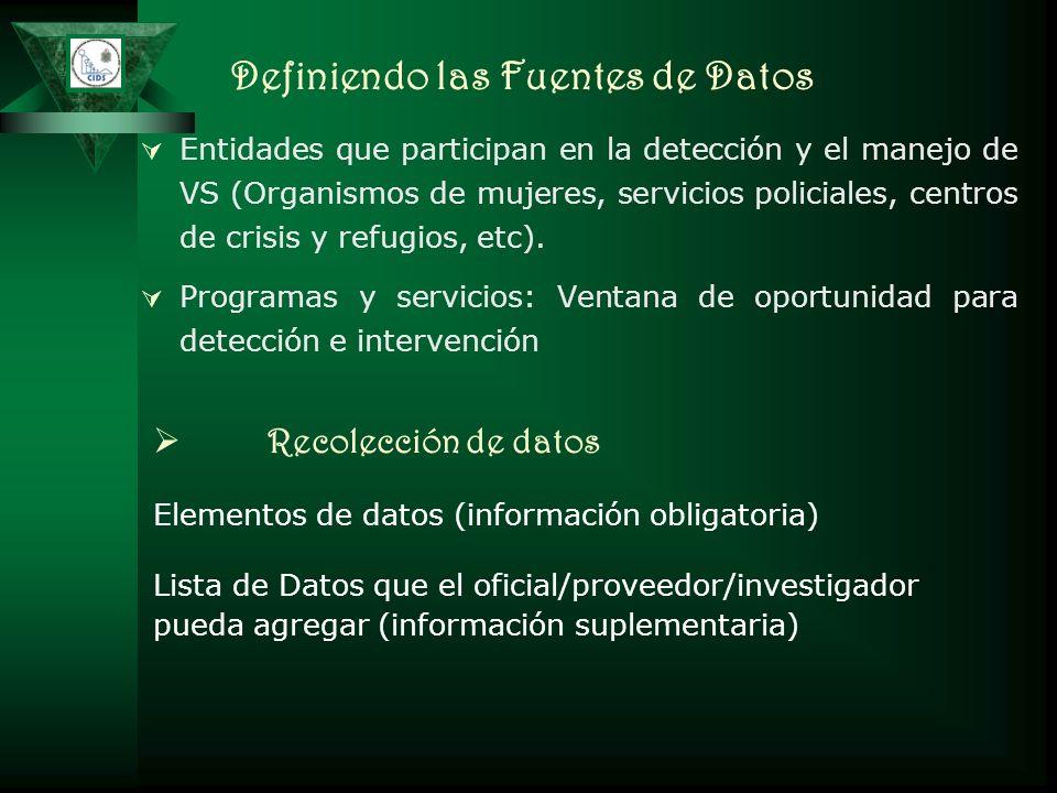 Definiendo las Fuentes de Datos Entidades que participan en la detección y el manejo de VS (Organismos de mujeres, servicios policiales, centros de cr