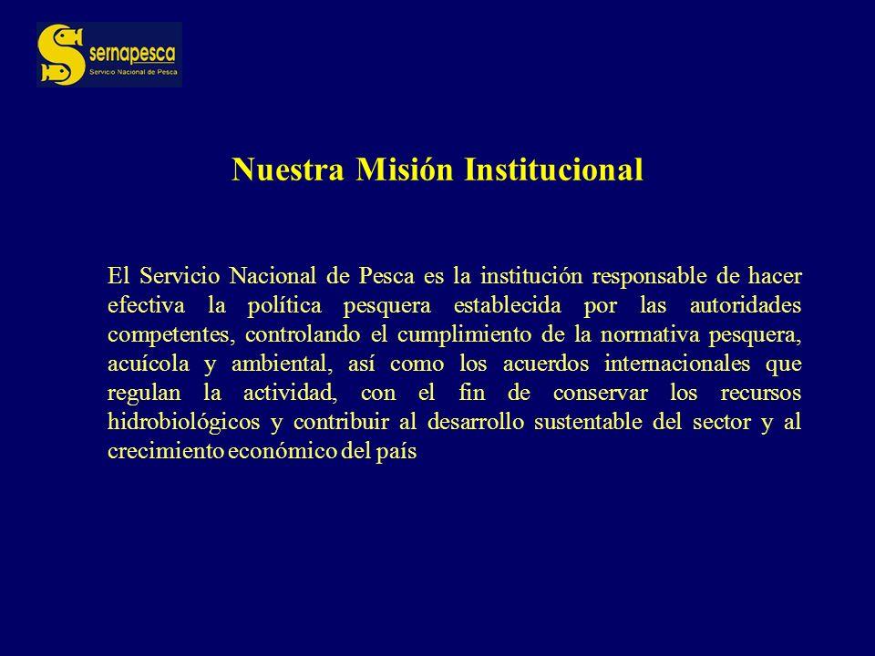 ESTRUCTURA INSTITUCIONAL SERVICIO NACIONAL DE PESCA DEPARTAMENTOADMINISTRACIONPESQUERA DEPARTAMENTO PESCA ARTESANAL DEPARTAMENTO SANIDAD PESQUERA DEPARTAMENTOJURIDICO DEPARTAMENTOADMINISTRATIVO DEPARTAMENTO DE INFORMACION Y ESTADISTICAS PESQUERAS DEPARTAMENTO DE FISCALIZACION SERVICIO NACIONAL DE PESCA DIRECCIONESREGIONALES OFICINASPROVINCIALES