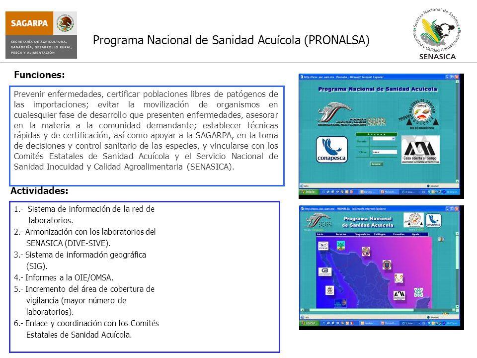 Programa Nacional de Sanidad Acuícola (PRONALSA) Prevenir enfermedades, certificar poblaciones libres de patógenos de las importaciones; evitar la mov