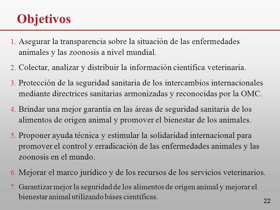22 Objetivos 1. Asegurar la transparencia sobre la situación de las enfermedades animales y las zoonosis a nivel mundial. 2. Colectar, analizar y dist