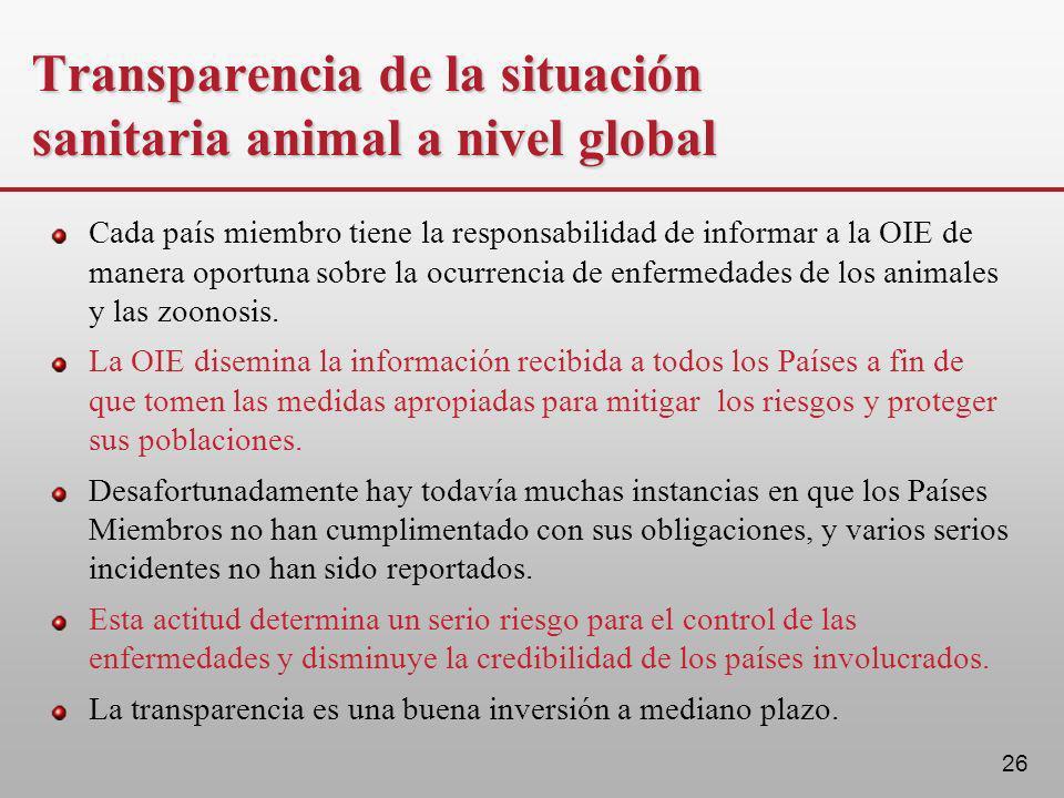 26 Transparencia de la situación sanitaria animal a nivel global Cada país miembro tiene la responsabilidad de informar a la OIE de manera oportuna so