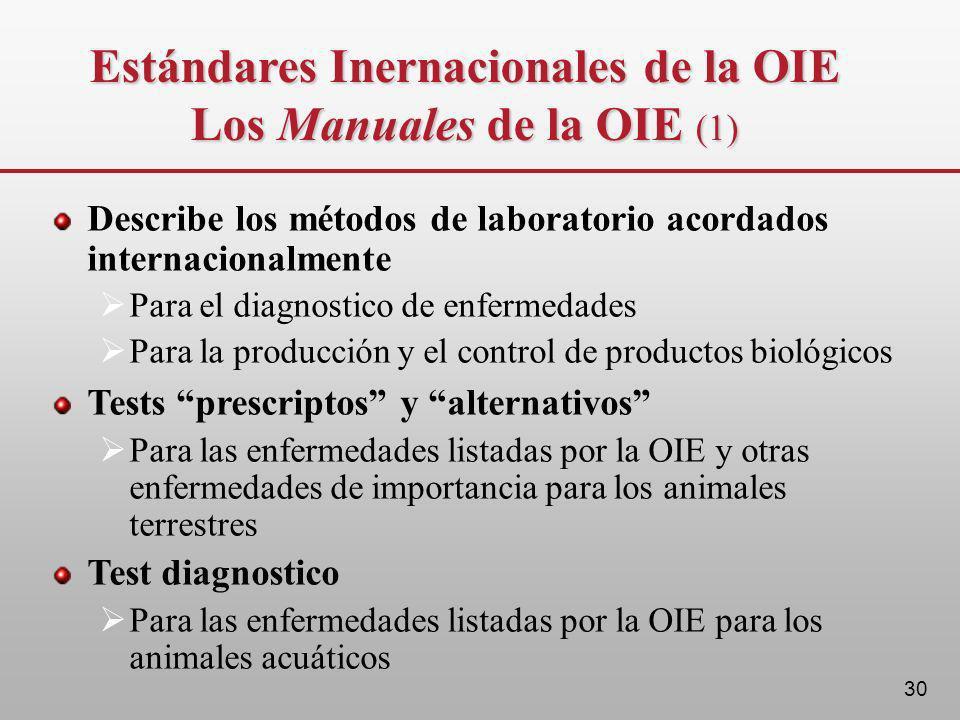 30 Describe los métodos de laboratorio acordados internacionalmente Para el diagnostico de enfermedades Para la producción y el control de productos b