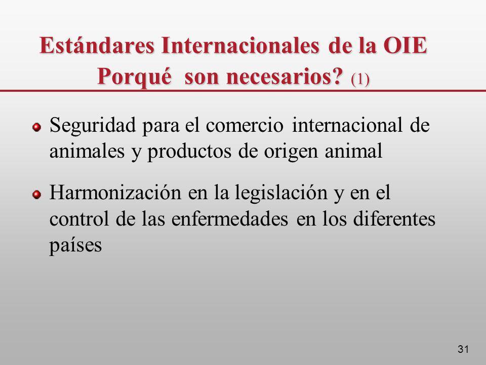 31 Estándares Internacionales de la OIE Porqué son necesarios? (1) Seguridad para el comercio internacional de animales y productos de origen animal H