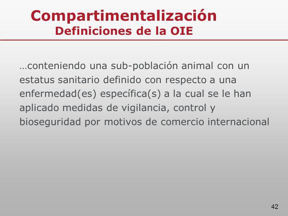 42 Compartimentalización Definiciones de la OIE …conteniendo una sub-población animal con un estatus sanitario definido con respecto a una enfermedad(
