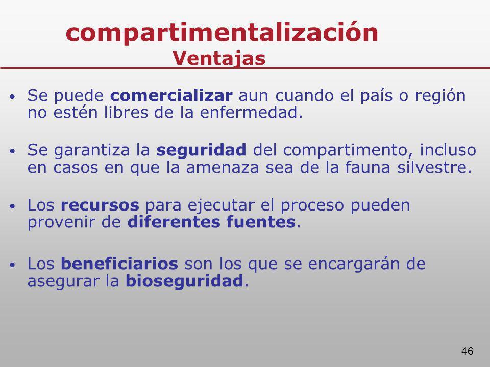 46 compartimentalización Ventajas Se puede comercializar aun cuando el país o región no estén libres de la enfermedad. Se garantiza la seguridad del c