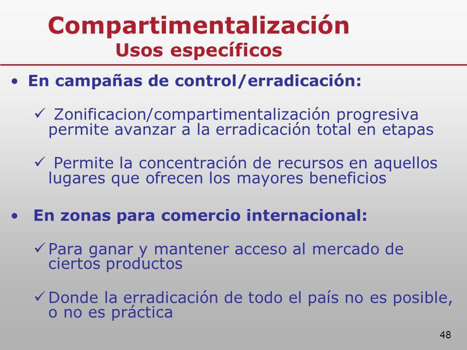 48 Compartimentalización Usos específicos En campañas de control/erradicación: Zonificacion/compartimentalización progresiva permite avanzar a la erra