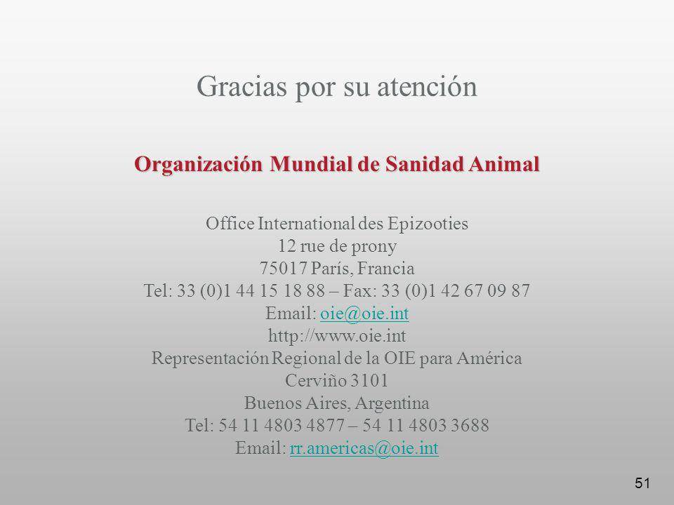 51 Organización Mundial de Sanidad Animal Office International des Epizooties 12 rue de prony 75017 París, Francia Tel: 33 (0)1 44 15 18 88 – Fax: 33