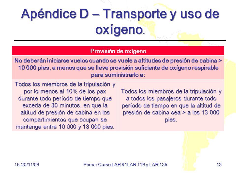 13 16-20/11/09 Apéndice D – Transporte y uso de oxígeno. Provisión de oxígeno No deberán iniciarse vuelos cuando se vuele a altitudes de presión de ca