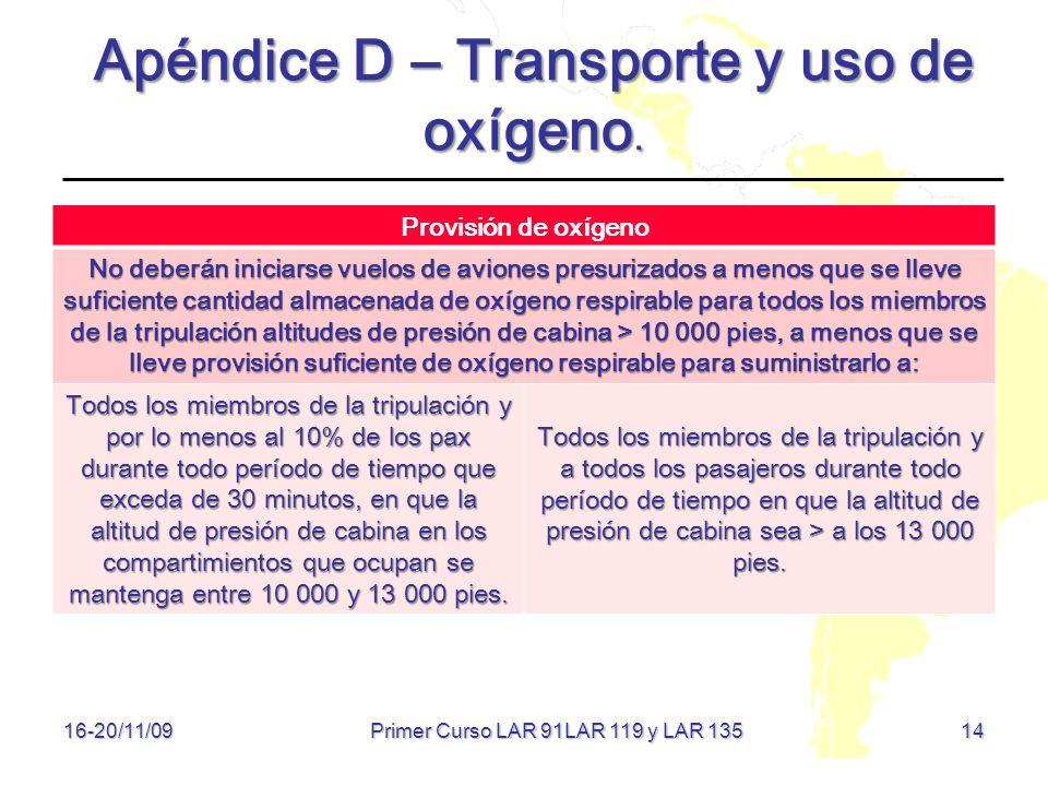 14 16-20/11/09 Apéndice D – Transporte y uso de oxígeno. Provisión de oxígeno No deberán iniciarse vuelos de aviones presurizados a menos que se lleve