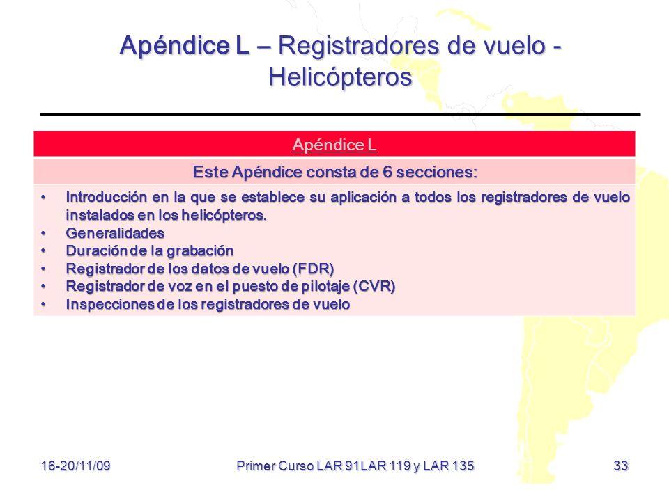 Apéndice L – Registradores de vuelo - Helicópteros 33 16-20/11/09 Apéndice L Este Apéndice consta de 6 secciones: Introducción en la que se establece