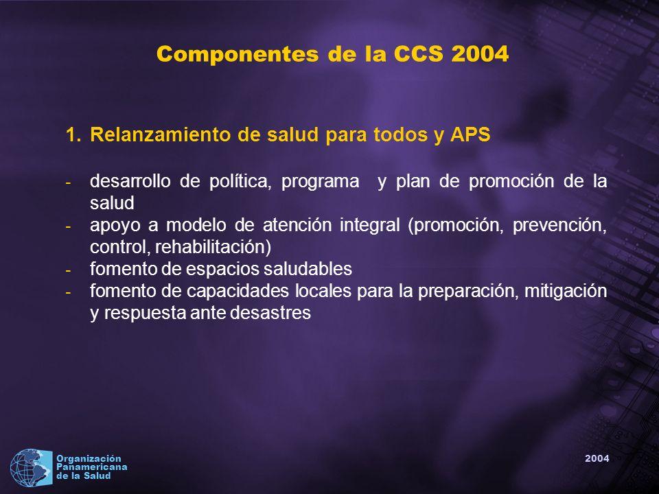 2004 Organización Panamericana de la Salud Componentes de la CCS 2004 1.Relanzamiento de salud para todos y APS - desarrollo de política, programa y plan de promoción de la salud - apoyo a modelo de atención integral (promoción, prevención, control, rehabilitación) - fomento de espacios saludables - fomento de capacidades locales para la preparación, mitigación y respuesta ante desastres