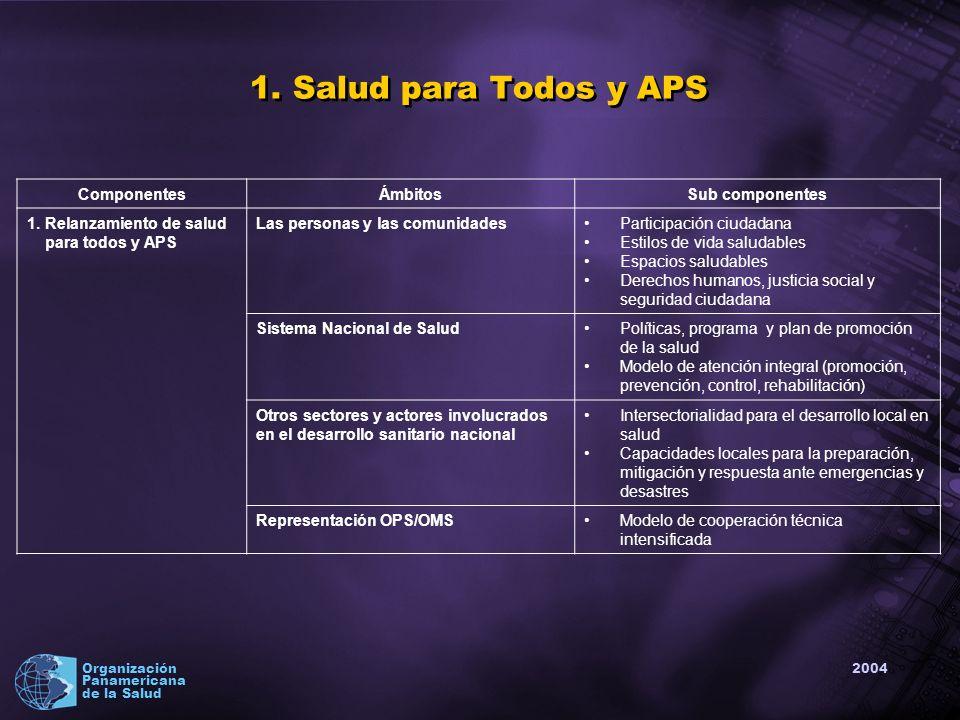 2004 Organización Panamericana de la Salud ComponentesÁmbitosSub componentes 1.