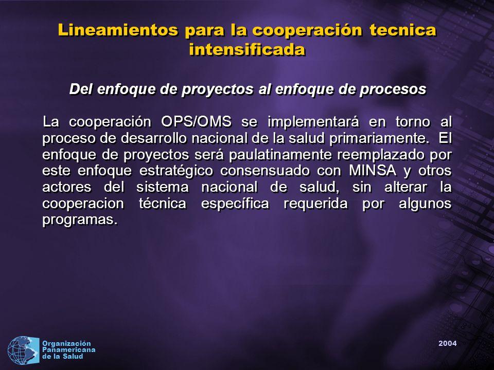 2004 Organización Panamericana de la Salud Lineamientos para la cooperación tecnica intensificada Del enfoque de proyectos al enfoque de procesos La cooperación OPS/OMS se implementará en torno al proceso de desarrollo nacional de la salud primariamente.