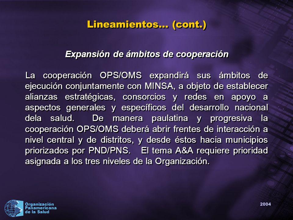 2004 Organización Panamericana de la Salud Expansión de ámbitos de cooperación La cooperación OPS/OMS expandirá sus ámbitos de ejecución conjuntamente con MINSA, a objeto de establecer alianzas estratégicas, consorcios y redes en apoyo a aspectos generales y específicos del desarrollo nacional dela salud.