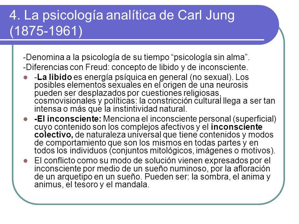 4. La psicología analítica de Carl Jung (1875-1961) -Denomina a la psicología de su tiempo psicología sin alma. -Diferencias con Freud: concepto de li
