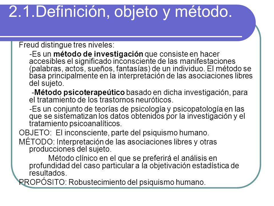 2.1.Definición, objeto y método. Freud distingue tres niveles: -Es un método de investigación que consiste en hacer accesibles el significado inconsci