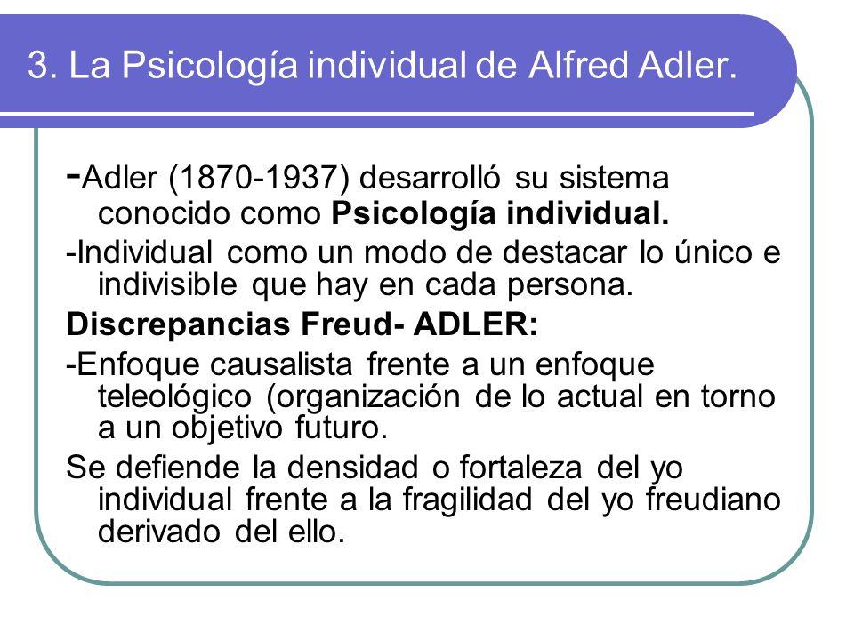 3. La Psicología individual de Alfred Adler. - Adler (1870-1937) desarrolló su sistema conocido como Psicología individual. -Individual como un modo d