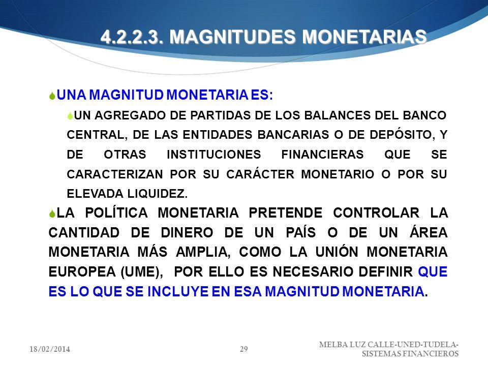 4.2.2.3. MAGNITUDES MONETARIAS UNA MAGNITUD MONETARIA ES: UN AGREGADO DE PARTIDAS DE LOS BALANCES DEL BANCO CENTRAL, DE LAS ENTIDADES BANCARIAS O DE D