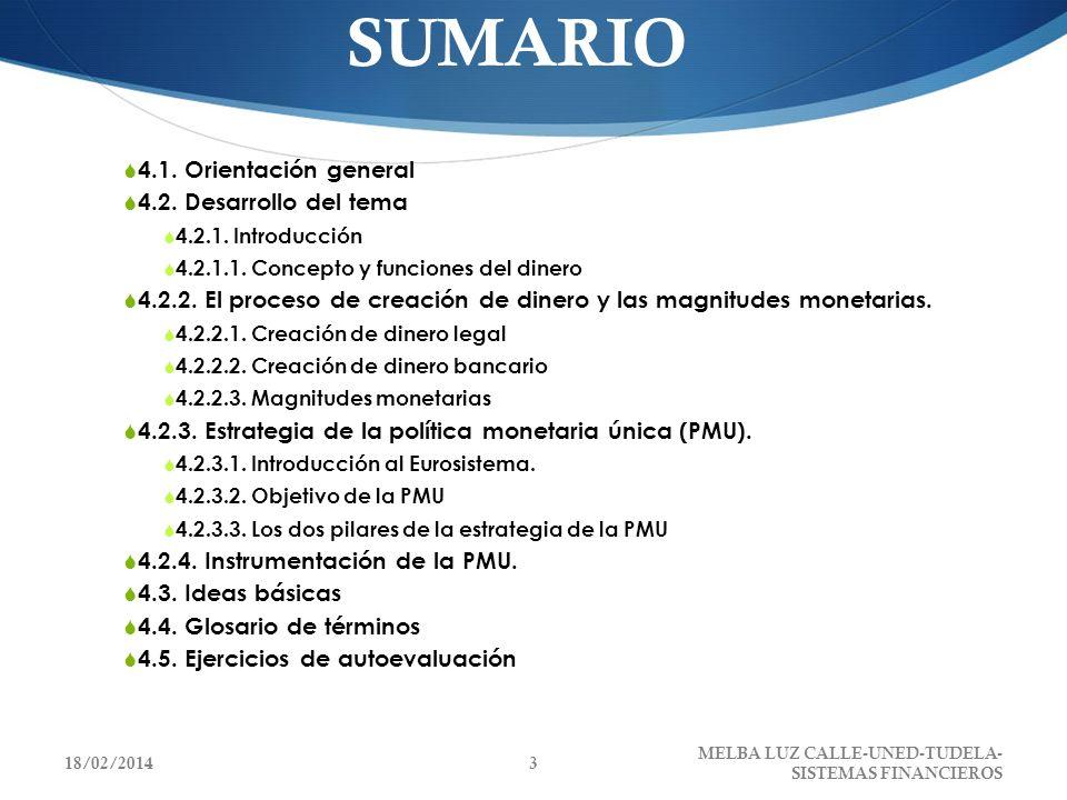 SUMARIO 4.1. Orientación general 4.2. Desarrollo del tema 4.2.1. Introducción 4.2.1.1. Concepto y funciones del dinero 4.2.2. El proceso de creación d