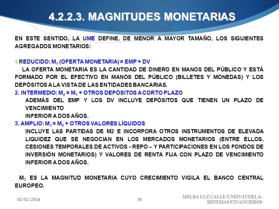 4.2.2.3. MAGNITUDES MONETARIAS EN ESTE SENTIDO, LA UME DEFINE, DE MENOR A MAYOR TAMAÑO, LOS SIGUIENTES AGREGADOS MONETARIOS: REDUCIDO: M 1 (OFERTA MON