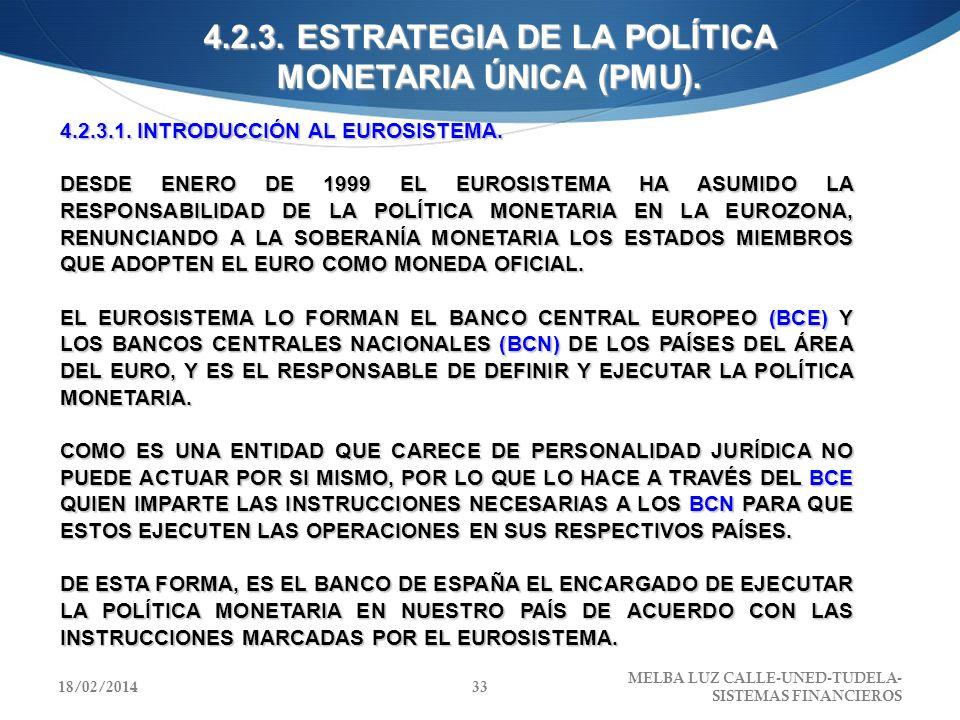 4.2.3. ESTRATEGIA DE LA POLÍTICA MONETARIA ÚNICA (PMU). 4.2.3.1. INTRODUCCIÓN AL EUROSISTEMA. DESDE ENERO DE 1999 EL EUROSISTEMA HA ASUMIDO LA RESPONS