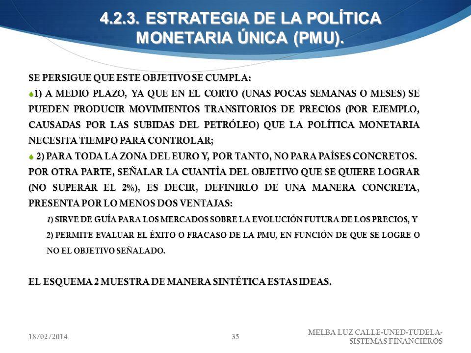 4.2.3. ESTRATEGIA DE LA POLÍTICA MONETARIA ÚNICA (PMU). SE PERSIGUE QUE ESTE OBJETIVO SE CUMPLA: 1) A MEDIO PLAZO, YA QUE EN EL CORTO (UNAS POCAS SEMA