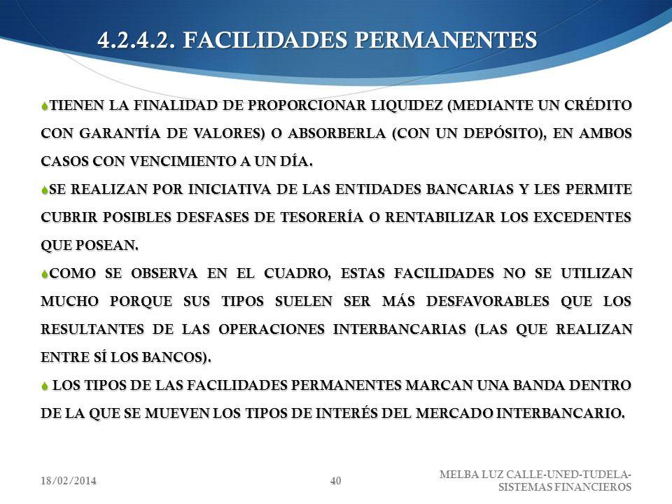 4.2.4.2. FACILIDADES PERMANENTES TIENEN LA FINALIDAD DE PROPORCIONAR LIQUIDEZ (MEDIANTE UN CRÉDITO CON GARANTÍA DE VALORES) O ABSORBERLA (CON UN DEPÓS