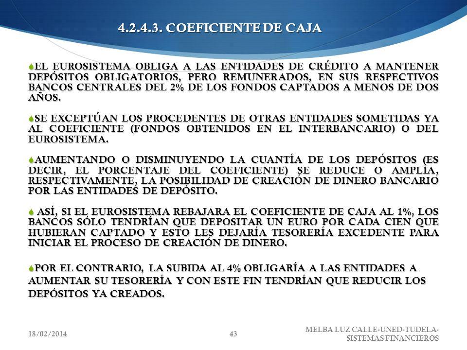 4.2.4.3. COEFICIENTE DE CAJA EL EUROSISTEMA OBLIGA A LAS ENTIDADES DE CRÉDITO A MANTENER DEPÓSITOS OBLIGATORIOS, PERO REMUNERADOS, EN SUS RESPECTIVOS