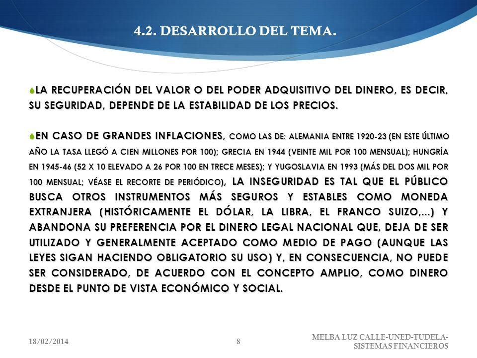 4.2. DESARROLLO DEL TEMA. LA RECUPERACIÓN DEL VALOR O DEL PODER ADQUISITIVO DEL DINERO, ES DECIR, SU SEGURIDAD, DEPENDE DE LA ESTABILIDAD DE LOS PRECI