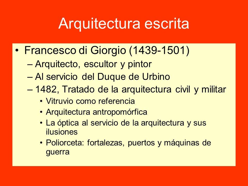 Arquitectura escrita Francesco di Giorgio (1439-1501) –Arquitecto, escultor y pintor –Al servicio del Duque de Urbino –1482, Tratado de la arquitectur
