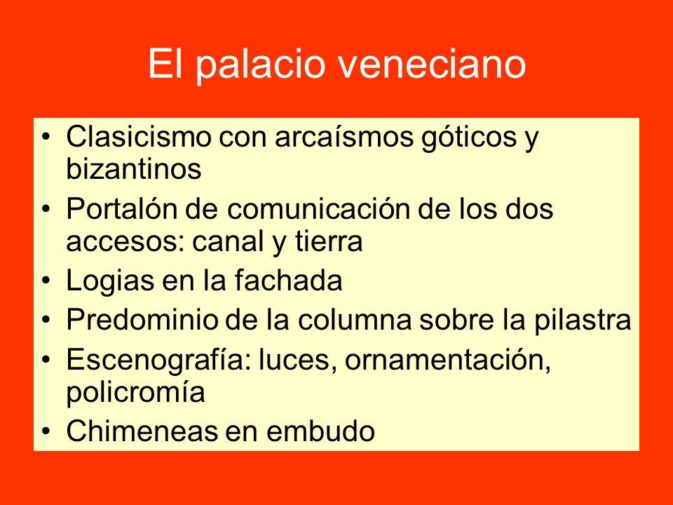 El palacio veneciano Clasicismo con arcaísmos góticos y bizantinos Portalón de comunicación de los dos accesos: canal y tierra Logias en la fachada Pr