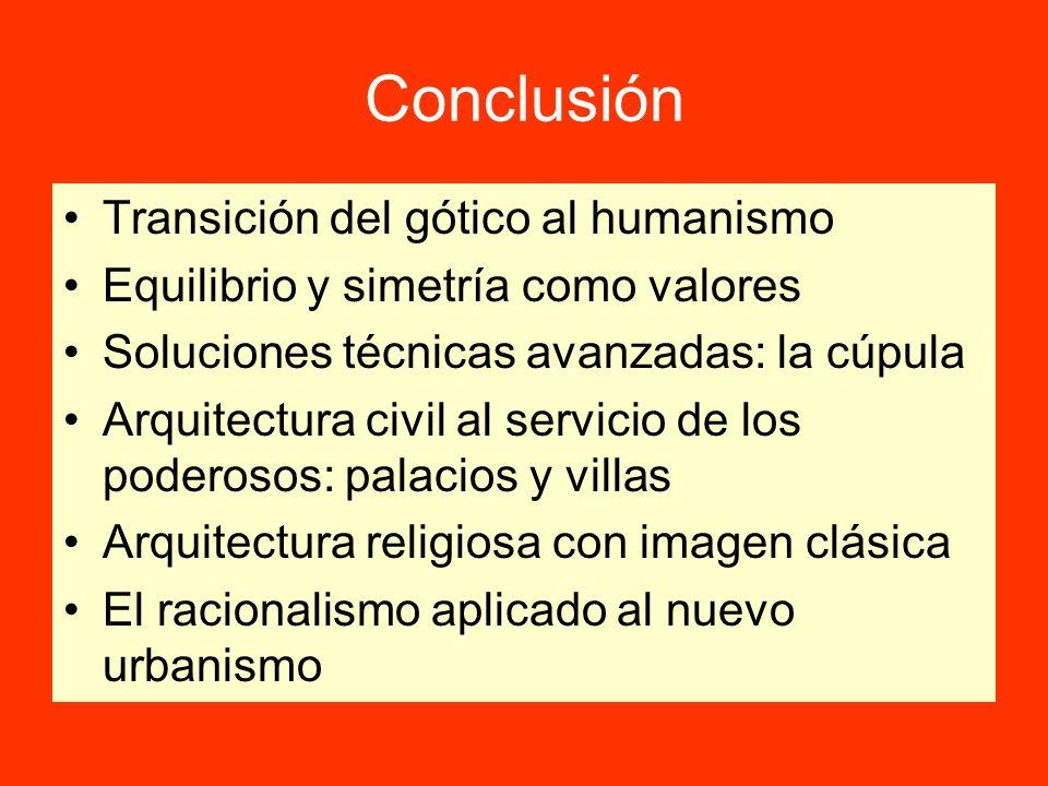 Conclusión Transición del gótico al humanismo Equilibrio y simetría como valores Soluciones técnicas avanzadas: la cúpula Arquitectura civil al servic