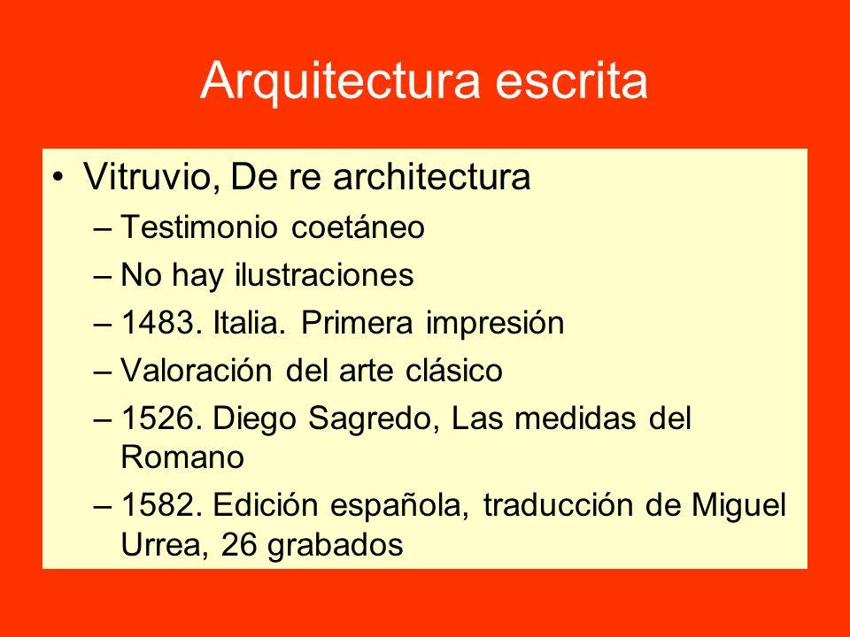 Arquitectura escrita Vitruvio, De re architectura –Testimonio coetáneo –No hay ilustraciones –1483. Italia. Primera impresión –Valoración del arte clá