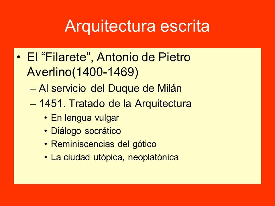Arquitectura escrita El Filarete, Antonio de Pietro Averlino(1400-1469) –Al servicio del Duque de Milán –1451. Tratado de la Arquitectura En lengua vu