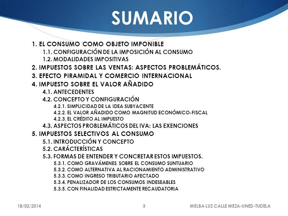 18/02/2014MELBA LUZ CALLE MEZA-UNED-TUDELA3 SUMARIO 1. EL CONSUMO COMO OBJETO IMPONIBLE 1.1. CONFIGURACIÓN DE LA IMPOSICIÓN AL CONSUMO 1.2. MODALIDADE