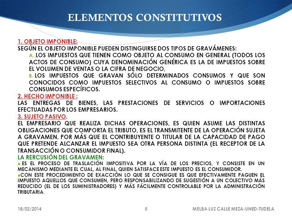 18/02/2014MELBA LUZ CALLE MEZA-UNED-TUDELA5 ELEMENTOS CONSTITUTIVOS 1. OBJETO IMPONIBLE: SEGÚN EL OBJETO IMPONIBLE PUEDEN DISTINGUIRSE DOS TIPOS DE GR