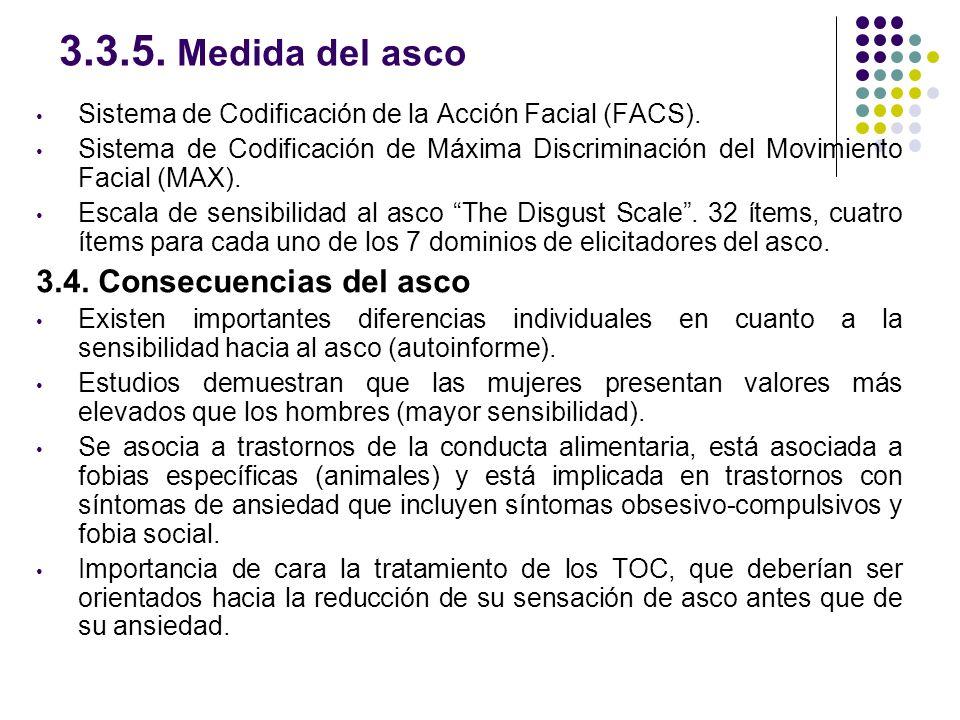 3.3.5. Medida del asco Sistema de Codificación de la Acción Facial (FACS). Sistema de Codificación de Máxima Discriminación del Movimiento Facial (MAX